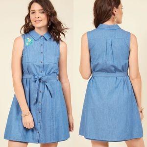 ModCloth Shared Vision Sleeveless Shirtdress